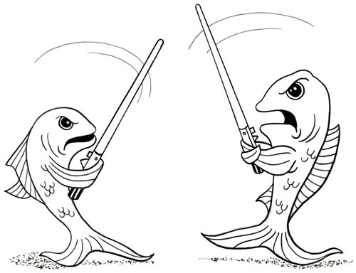 Drawing of a fish fight
