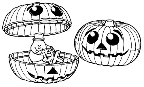 Line art illustration of a holiday pumpkin product